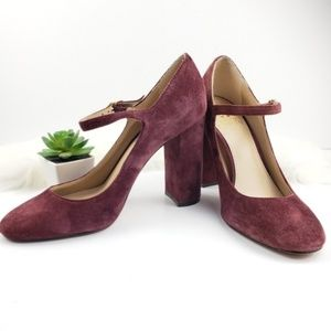 Vince Camuto scarlotte suede leather chunky heels